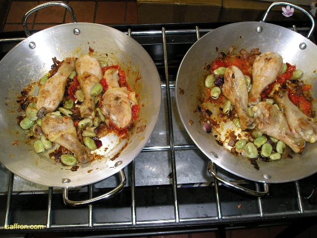 Vanilla, Saffron Imports Paella VSI four people Saffron Soaked and other ingredients ready 942