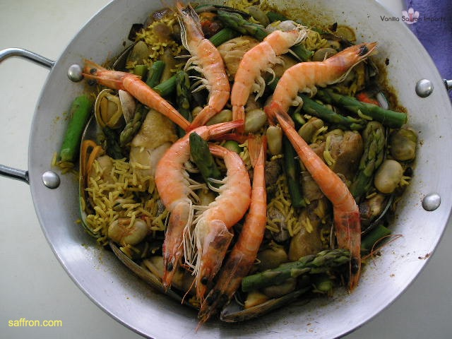 Vanilla, Saffron Imports Paella VSI four people Saffron Soaked and other ingredients ready 958